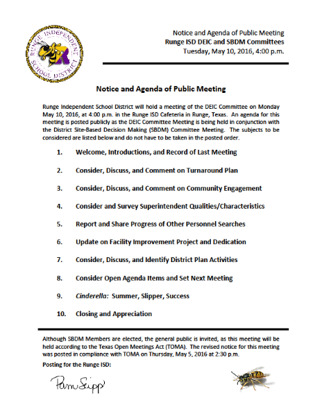 Meeting Notice and Agenda