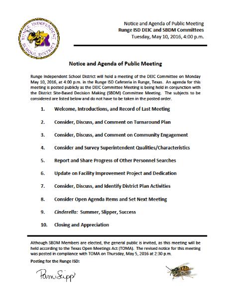 Meeting Notice and Agenda